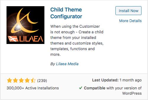 como instalar child theme configurator