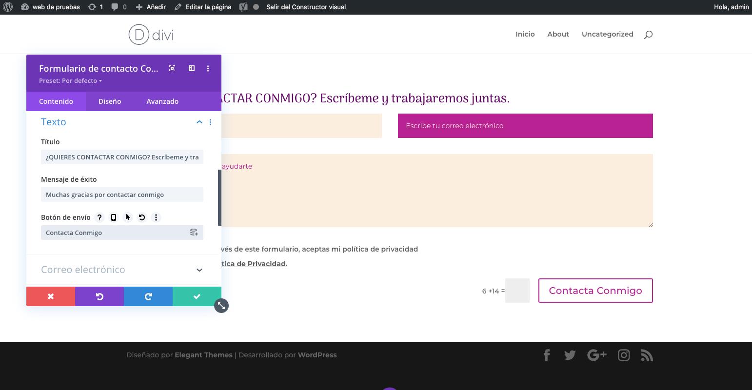 boton de envio del formulario de la pagina de contacto paso a paso